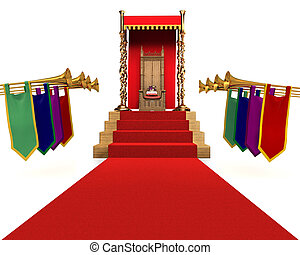 KingQueen for a Day - Red carpet flanked by trumpets leading...