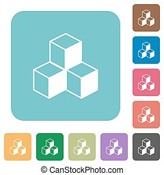 Flat cubes icons on rounded square color backgrounds.
