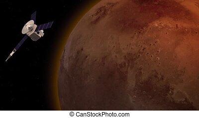 Satellite revolving over mars atmosphere