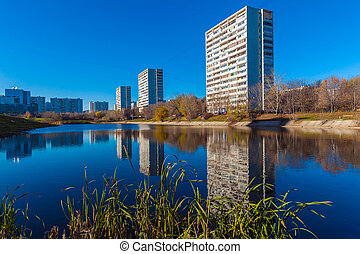 Modern apartment houses near pond, Moscow