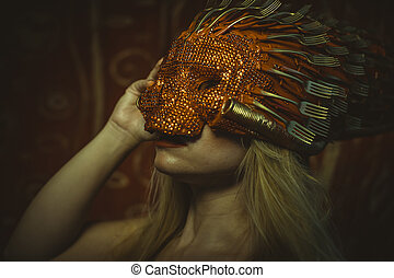 Skull, blonde with Venetian mask in gold and red,...