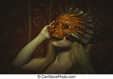 blonde with Venetian mask in gold and red, embroidered...