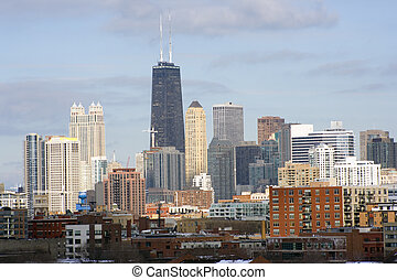 Chicago downtown seen from west side late afternoon