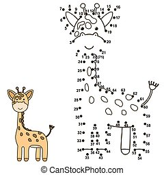 Connect the dots to draw a cute giraffe and color it....