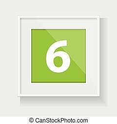 Square frame with number six