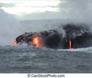 Hawaii lava flow - Lava flow into the sea of Kilauea Volcano...