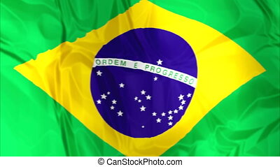 Flag of Brazil waving - Waving flag of Brazil, green blue...