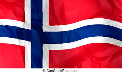 Flag of Norway waving - Waving flag of Norway, blue white...