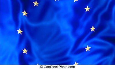 Flag of Europe waving - Waving flag of Europe, blue with...