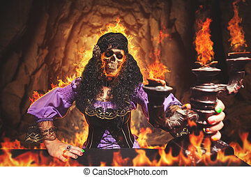 Sorceress burning away - Sorceress is burning away, she has...