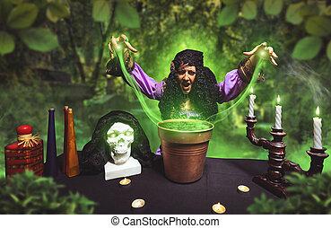 Crazy sorceress practising witchcraft - Crazy sorceress...