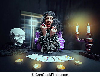 Sorceress telling fortunes - Sorceress with her hands loaded...