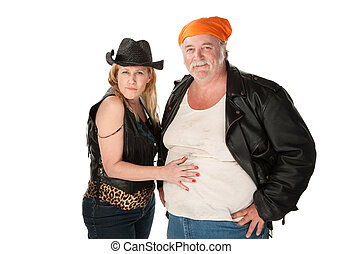 Woman touching a big belly on her male friend or husband -...