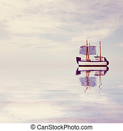 Toy wooden boat floating on the sea. Photo in vintage style