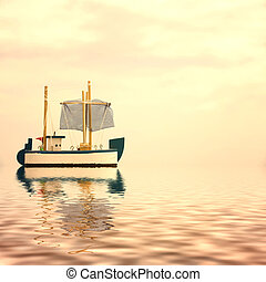 Toy wooden boat floating on the sea and is reflected in the...