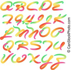 Rainbow colored alphabet letters