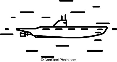 Flat linear submarine illustration