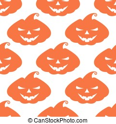 Vector pattern with orange pumpkins scary face on white...