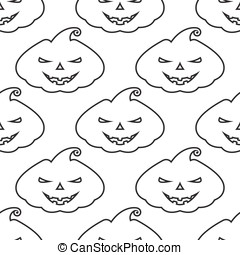 Vector pattern silhouette pumpkin with scary face on white...