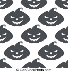Vector monochrome pattern pumpkin with scary face on white...
