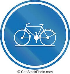 Belgian regulatory road sign - Cycle lane.