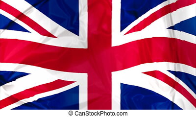 Flag of England waving - Waving flag of England, red blue...