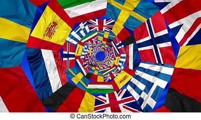 Flags of Europe contries in whirlpool 3d effect. England...