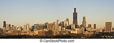 Last rays of sun in Chicago - panorama