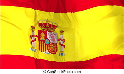 Flag of Spain waving - Waving flag of Spain, red and yellow...