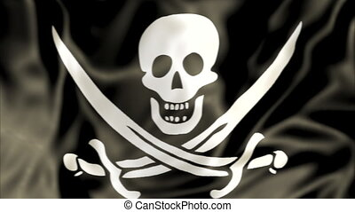Pirate Flag waving - 3D Pirate Flag of Calico Jack Rackham,...