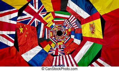 Flags of world united contries in whirlpool 3d effect....