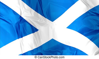 Flag of Scotland waving - Waving flag of Scotland, blue...