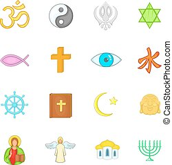 Religion icons set, cartoon style - Religion icons set in...