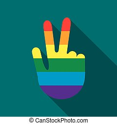 Hand in rainbow flag colors making the V sign icon - icon in...