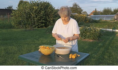 Elderly woman 80s cleans chanterelle mushrooms in bowl...