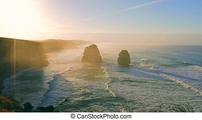 Twelve Apostles sunrise - Top view of Gibson Steps by the...