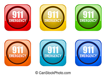 number emergency 911 colorful web icons