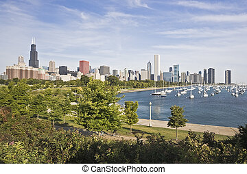 Panorama of Chicago and Lake Michigan