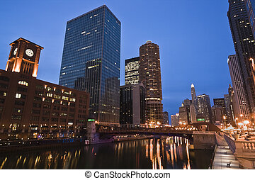 Night by Chicago River - Night and Lights by Chicago River