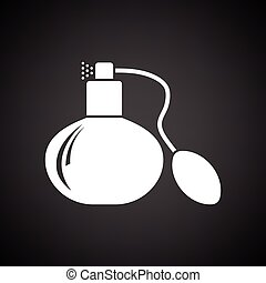 Cologne spray icon. Black background with white. Vector...