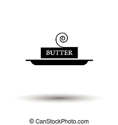 Butter icon. White background with shadow design. Vector...