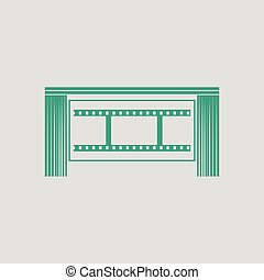Cinema theater auditorium icon Gray background with green...