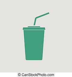 Cinema soda drink icon Gray background with green Vector...