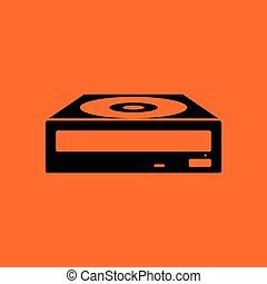 CD-ROM icon. Orange background with black. Vector...