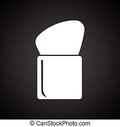 Make Up brush icon. Black background with white. Vector...