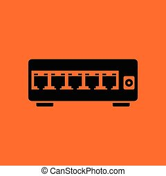 Ethernet switch icon. Orange background with black. Vector...