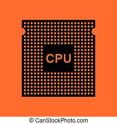 CPU icon Orange background with black Vector illustration