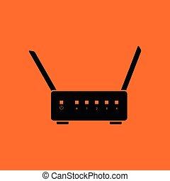 Wi-Fi router icon. Orange background with black. Vector...