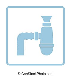 Bathroom siphon icon. Blue frame design. Vector...