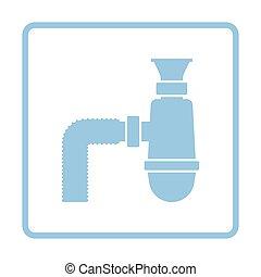 Bathroom siphon icon. Blue frame design. Vector...